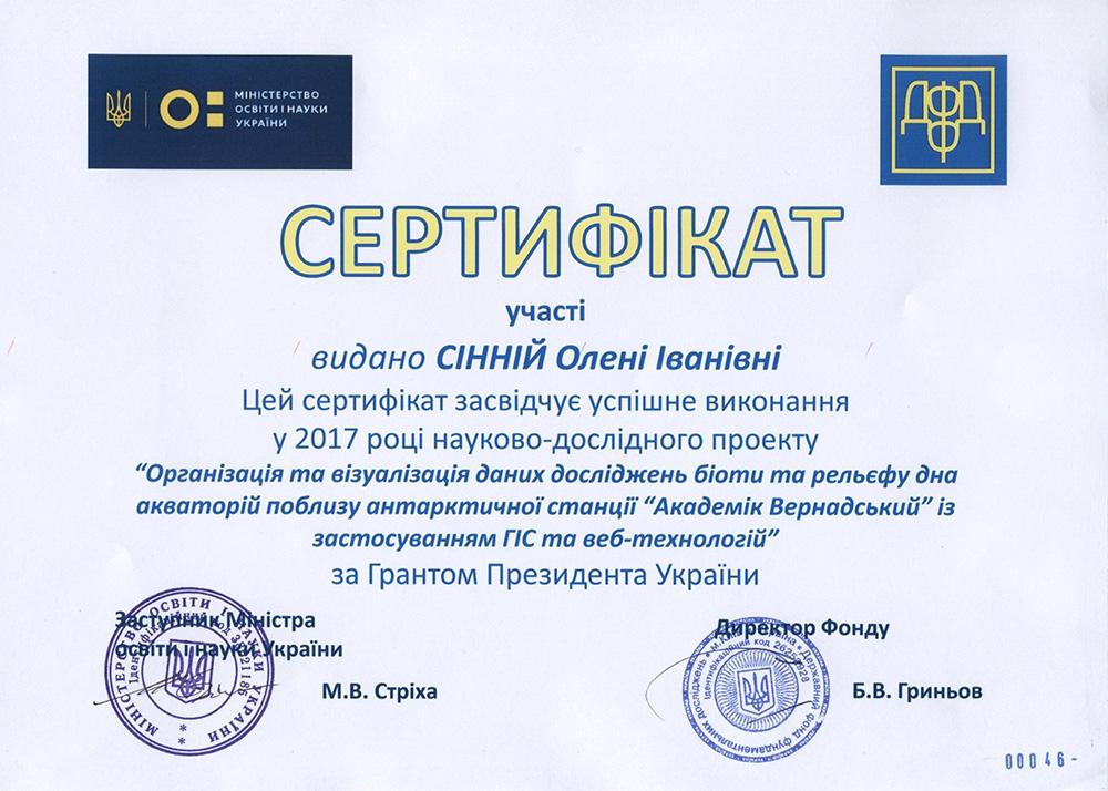 Звітування за проектами «Гранти Президента України для підтримки наукових досліджень молодих вчених на 2017 рік»